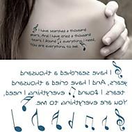 hudební notace poznámka symbol tetování samolepky dočasné tetování (1 ks)