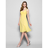 A-line Mother of the Bride Dress - Daffodil Knee-length Sleeveless Georgette