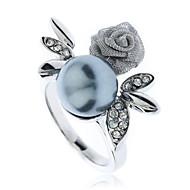 White Gold 18K Gp Crystal Elements Pearl Rose Flower Finger Rings J0268
