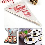 100pcs tuberías guinda desechable herramienta bolsas decoración magdalena punta pastelería pastel