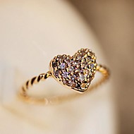 Shiny Heart Women's Alloy Ring With Crystal