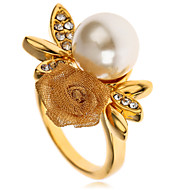 Arinna Gold 18K Yellow Gp Crystal Elements Rose Flower Pearl Finger Ring J0341