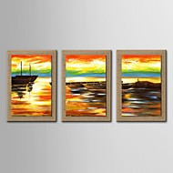 Oil Painting Modern Abstract Seascape  Set of 3 Hand Painted  Natural linen with Stretched Frame