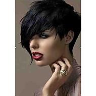 muoti musta 1b väri lyhyt kihara naisen synteettiset peruukit hiukset ILMAINENtoimitus