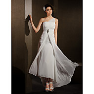 Sheath/Column Wedding Dress - Ivory Asymmetrical One Shoulder Chiffon