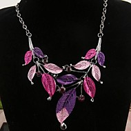 Retro classic color leaves drip necklace Ladies' Stainless Steel Necklace With Rhinestone
