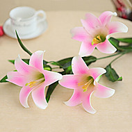Set of 8 40inch Long 5 Heads Real Touch Lily Pink Color