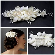 White Gorgeous Blusher Applique Beaded Camellia Wedding Combs Hair Accessories Bridal Clips For Hair