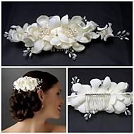 Veren/Parel/Sterling Silver/Bergkristal/Polyester Vrouwen Helm Bruiloft Bloemen Bruiloft