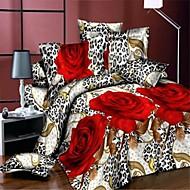 3d rote Rose Bettwäsche Bettlaken echten Blumen Stil 4pcs Bettdecke Bettbezug