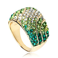Arinna Emerald S Shape Stripe Cocktail Ring 18k Yellow Gold GP Clear Crystal J2171