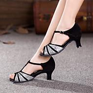 Non Customizable Women's Dance Shoes Latin Suede/Paillette Cuban Heel Outdoor  More  Colors