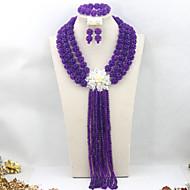 2015 Purple African Wedding Beads Jewelry Set Indian Costume Women Jewelry Set