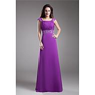 Formal Evening Dress - Grape Plus Sizes / Petite A-line Square Floor-length Chiffon