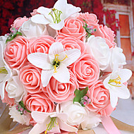 A Bouquet of 26 PE Simulation Roses and White Lily Wedding Bouquet Wedding Bride Holding Flowers,Pink