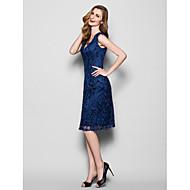 Lanting Sheath/Column Plus Sizes / Petite Mother of the Bride Dress - Dark Navy Knee-length Sleeveless Lace