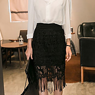 Women's Casual Lace Cut Out Tassels Thin Midi Skirts