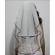 Wedding Veil Two-tier Elbow Veils Black Ribbon Edge