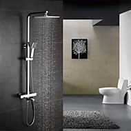 Contemporary Shower System Thermostatic / Rain Shower / Handshower Included with  Ceramic Valve Two Handles Three Holes for  Chrome ,