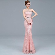 Formal Evening Dress - Ruby / Pearl Pink Plus Sizes Trumpet/Mermaid Strapless Ankle-length Tulle / Lace