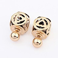 Women's Korean Fashion Boutique Lantern Stud Earrings With Rhinestone