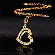 U7® Platinum 18K Real Gold Plated 2 Layers Heart Necklace Rhinestone Pendant Necklace Fashion Jewelry