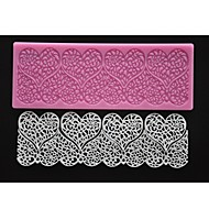 FOUR-C Embossed Silicone Mat Heart Lace Mould Fondant Cake Decor Pad Color Pink