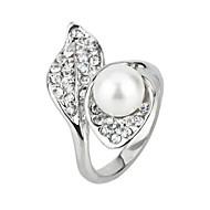 Arinna Lady Austrian Crystal Pearl Leaf 18k White GP Fashion finger Ring Jewelry J1986