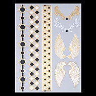 9PCS Mixed Pattern Temporary Tattoos Metallic Gold Tattoos Flash Tattoos Feather Wing Wedding Party Tattoos