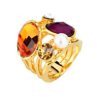 Arinna Purple Pearl Brown Clear Rhinestone Rings Crystals 18K Yellow Gold Gp J0841