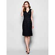 Lanting Sheath/Column Plus Sizes / Petite Mother of the Bride Dress - Black Knee-length Sleeveless Lace