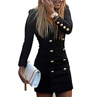 vrouwen plus size double-breasted v-hals lange mouw jurken