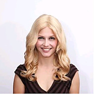 18 Inch  100% Human Indian  Hair Blonde  Loose Curly Full Lace Wig