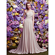TS Couture Court Train Georgette Bridesmaid Dress - A-line One Shoulder