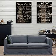 e-Home® sträckt kanfaskonsttryck engelska ord dekorativt måleri uppsättning 2