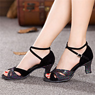 Women's Dance Shoes Latin Patent Leather Chunky Heel Black