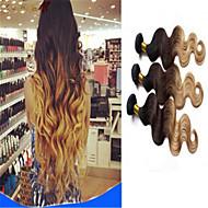 브라질 처녀 머리 바디 웨이브 선염 머리 확장 인간의 머리 씨실 3 색 톤 1B # 4 # 27 #을 선염 3PCS / 많은