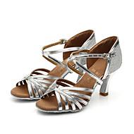 Aanpasbaar - Voor dames - Dance Schoenen ( Zilver/Goud ) - met Aangepaste  hak - en Latijn