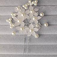 Capacete Alfinete de Cabelo/Flores Casamento/Ocasião Especial Liga/Imitação de Pérola/Acrilíco Mulheres/Menina das Flores