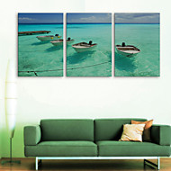 E-HOME® Stretched Canvas Art The Sea Ship Decorative Painting Set of 3