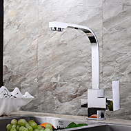 HPB Contemporary Potable Water Chrome Finish Brass One Hole Two Handles Kitchen Faucet