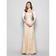 Sheath/Column Plus Size / Petite Mother of the Bride Dress - Floor-length 3/4 Length Sleeve Lace / Satin