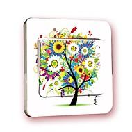 스위치 벽 스티커 벽 데칼, 다채로운 나무 창조적 인 PVC 스위치 스티커