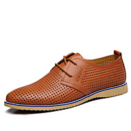 Men's Shoes Outdoor/Office & Career Leather Oxfords Black/Blue/Brown/Orange