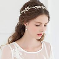 Dame/Blomsterpige Perle Lyserød/Rhinsten/Krystal Medaljon Bryllup/Speciel Lejlighed Diademer/Pandebånd Bryllup/Speciel Lejlighed