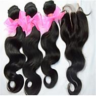 4pcs lot capelli vergini mongolo con chiusura 3bundles trama dei capelli non trattati mongolo umani con chiusura pizzo