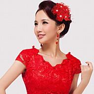 Mulheres Rede / Plástico Capacete-Casamento / Ocasião Especial Flores 1 Peça Rosa / Vermelho / Branco