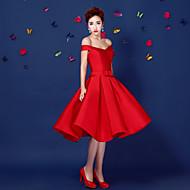 Cocktail Party Dress - Ruby Plus Sizes A-line Off-the-shoulder Short/Mini Satin