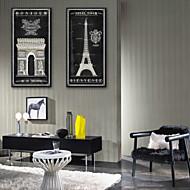 E-HOME® Stretched Canvas Art  European Famous Buildings Decoration Painting  Set of 2