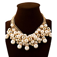 Women's Statement Necklaces Jewelry Pearl Imitation Diamond Alloy Fashion European Luxury Statement Jewelry Multi Layer Elegant Golden